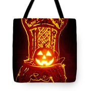 Carved Smiling Pumpkin On Chair Tote Bag