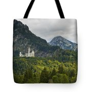 Castle Neuschwanstein With Alps In The Background Tote Bag