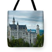 Castle Neuschwanstein With Surrounding Landscape Tote Bag