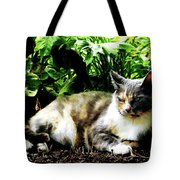 Cat Relaxing In Garden Tote Bag