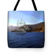 Catalina Shoreline Ghost Ship Tote Bag