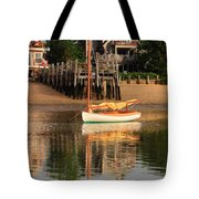 Catboat And Rippled Water Reflections Tote Bag