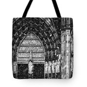 Cathedral In The Snow Panorama Tote Bag