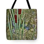 Cattails Along The Pond Tote Bag