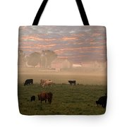 Cattle In The Fog Tote Bag