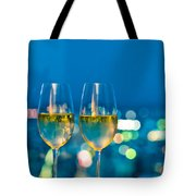 Champagne Glasses In Front Of A Window Tote Bag
