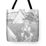 Charcole American Indian Children  Tote Bag