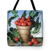 Cherries In Terracotta With Blue Flower Tote Bag