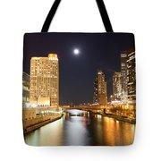 Chicago At Night At Columbus Drive Bridge Tote Bag