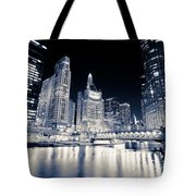 Chicago At Night At Michigan Avenue Bridge Tote Bag