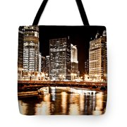 Chicago At Night At State Street Bridge Tote Bag