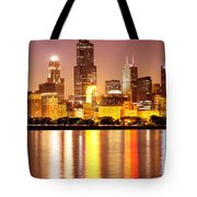 Chicago At Night With Willis-sears Tower Tote Bag by Paul Velgos