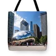 Chicago Bean Cloud Gate With People Tote Bag