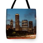 Chicago Business District At Dusk Tote Bag