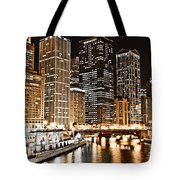 Chicago City Skyline At Night Tote Bag
