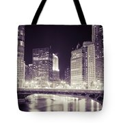 Chicago Cityscape At State Street Bridge Tote Bag
