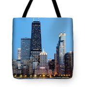 Chicago Downtown At Night With John Hancock Building Tote Bag