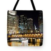Chicago Dusable Michigan Avenue Bridge At Night Tote Bag