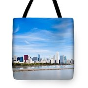 Chicago Lakefront Skyline Wide Angle Tote Bag