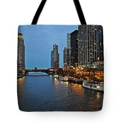 Chicago River At Twilight Tote Bag