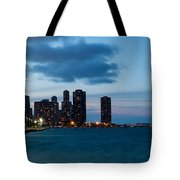 Chicago Skyline And Navy Pier At Dusk Tote Bag