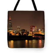 Chicago Skyline Downtown City Buildings At Night Tote Bag by Paul Velgos