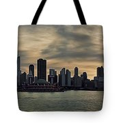 Chicago Skyline Navy Pier Tote Bag