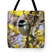 Chickadee Among The Blossoms Tote Bag