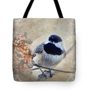 Chickadee Breakfast With Decorations Tote Bag
