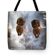 Chickens Roasting On Open Pit Fire Tote Bag