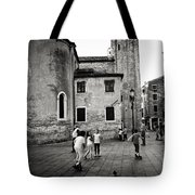 Children At Play In A Venice Piazza Tote Bag