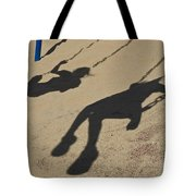 Children Cast Body Shadows In The Sand Tote Bag