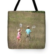 Children Collecting Insects Tote Bag