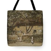 Children Outside A Cottage Tote Bag