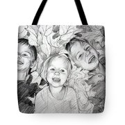 Children Playing In The Fallen Leaves Tote Bag