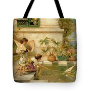 Children Playing With Boats Tote Bag