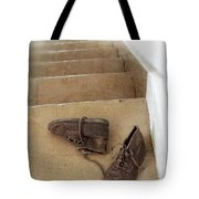 Child's Shoes By Stairs Tote Bag