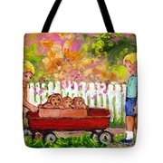 Chilrens Art-boy And Girl With Wagon And Puppies Tote Bag