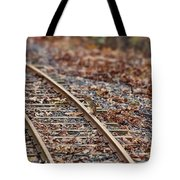Chipmunk On The Railroad Track Tote Bag