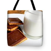 Chocolate Coated Butter Cookies And Milk Tote Bag