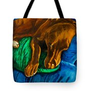 Chocolate Lab On Couch Tote Bag