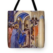 Christ Exorcising A Demon From A Possessed Youth: Illumination From The 15th Century Ms. Of The Tres Riches Heures Of Jean, Duke Of Berry Tote Bag