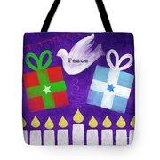 Christmas And Hanukkah Peace Tote Bag