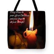 Christmas Candle Peace Greeting  Tote Bag