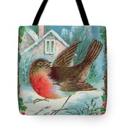 Christmas Card Depicting A Robin  Tote Bag