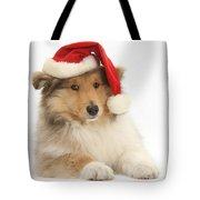 Christmas Collie Pup Tote Bag