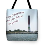 Christmas Lighthouse Card - From Our House To Yours Card Tote Bag