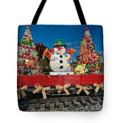 Christmas Snowman On Rails Tote Bag