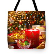 Christmas Table Set Tote Bag by Carlos Caetano