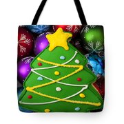 Christmas Tree Cookie With Ornaments Tote Bag